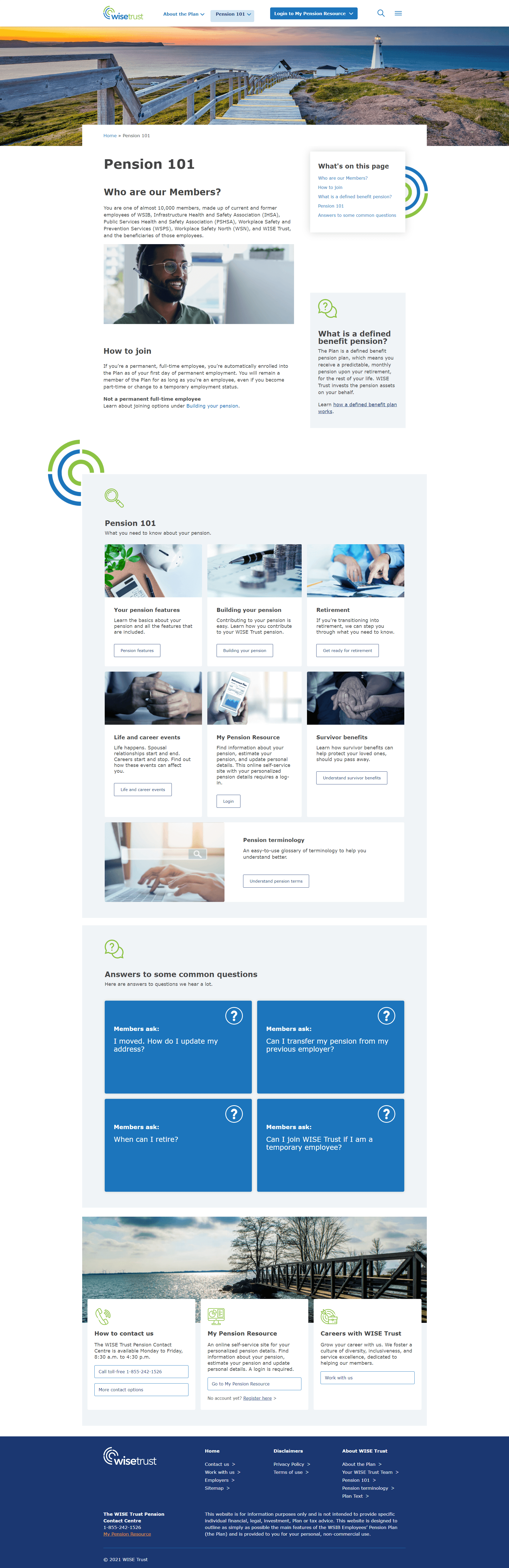 Image of WISE Trust's Pension 101 landing page for members.